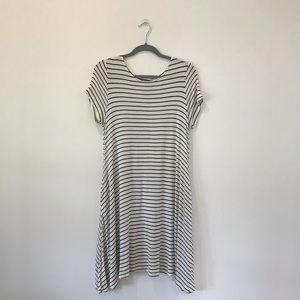 White with black stripes swing dress